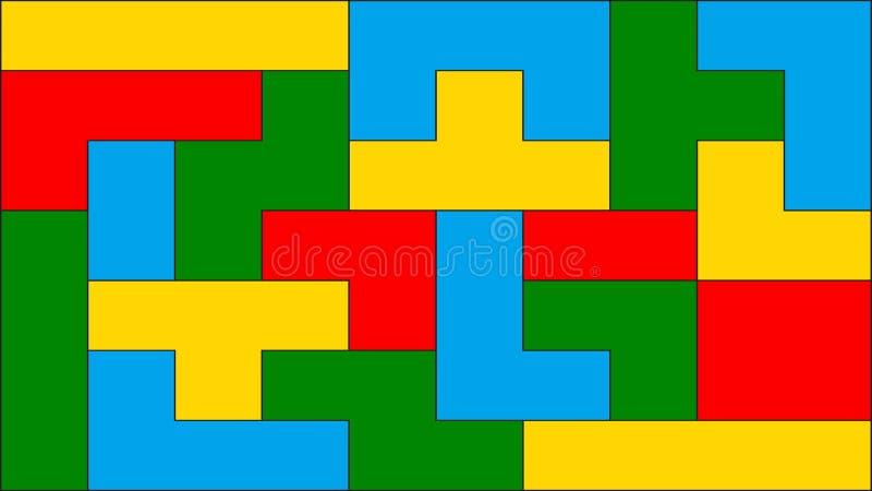 Modello senza cuciture di vettore con gli elementi di tetris Blocchi variopinti illustrazione di stock