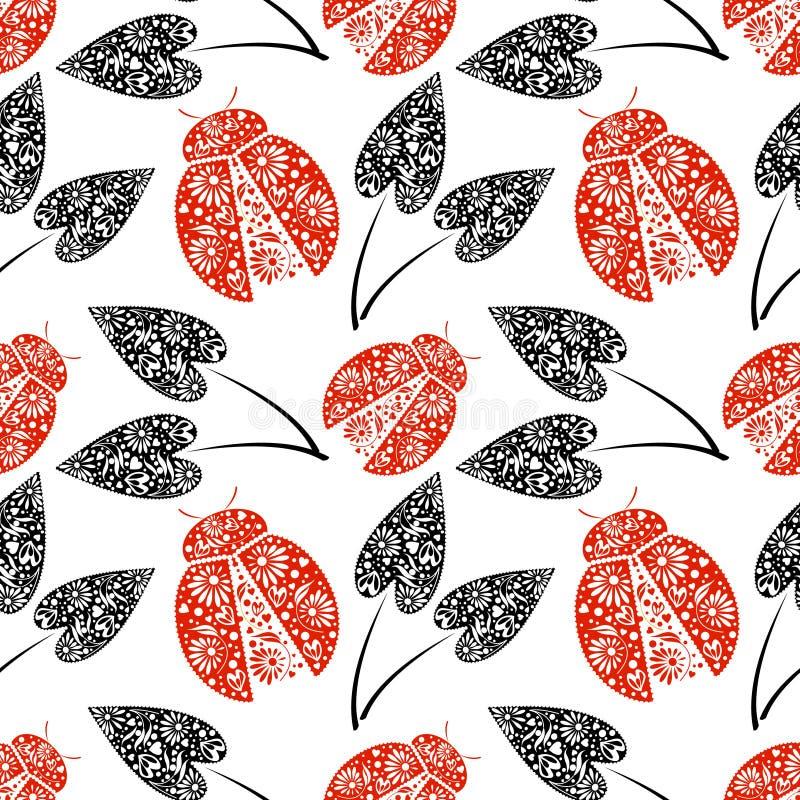 Modello senza cuciture di vettore con gli insetti, fondo caotico con le coccinelle rosse decorative luminose del primo piano e fo illustrazione vettoriale