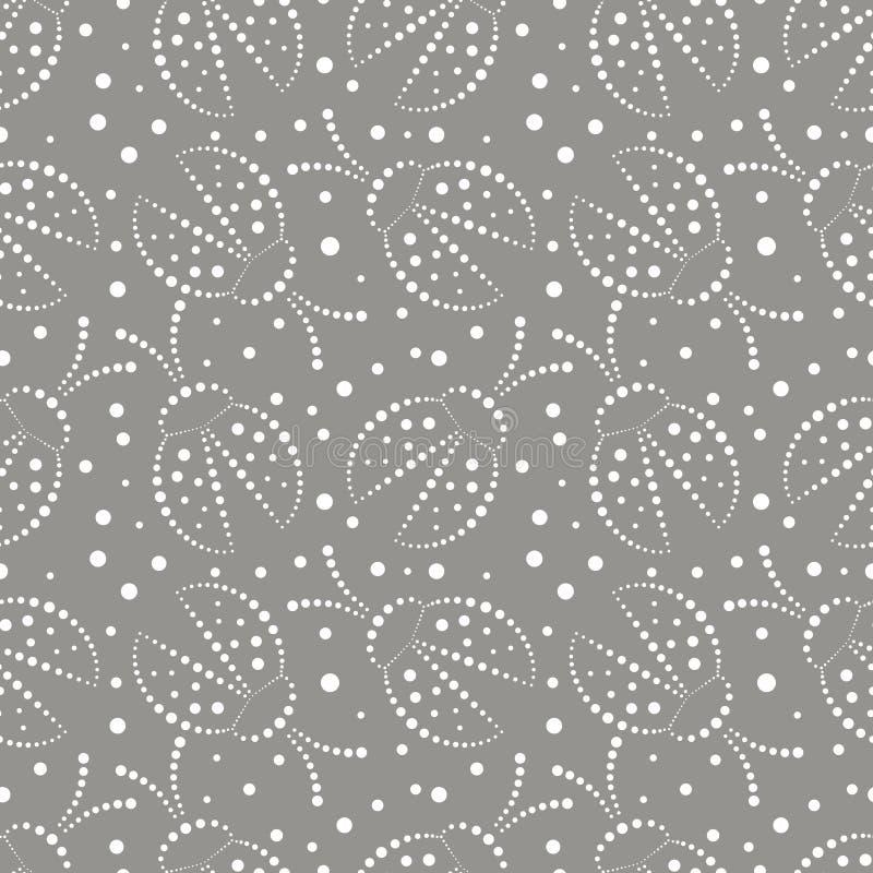 Modello senza cuciture di vettore con gli insetti, fondo grigio e bianco caotico con le coccinelle ed i punti decorativi del prim royalty illustrazione gratis