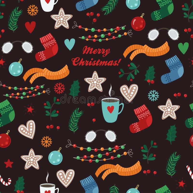 Modello senza cuciture di vettore con gli oggetti di Natale: calzino, sciarpa, tazza, biscotto, palla, ghirlanda, ramo, foglia royalty illustrazione gratis