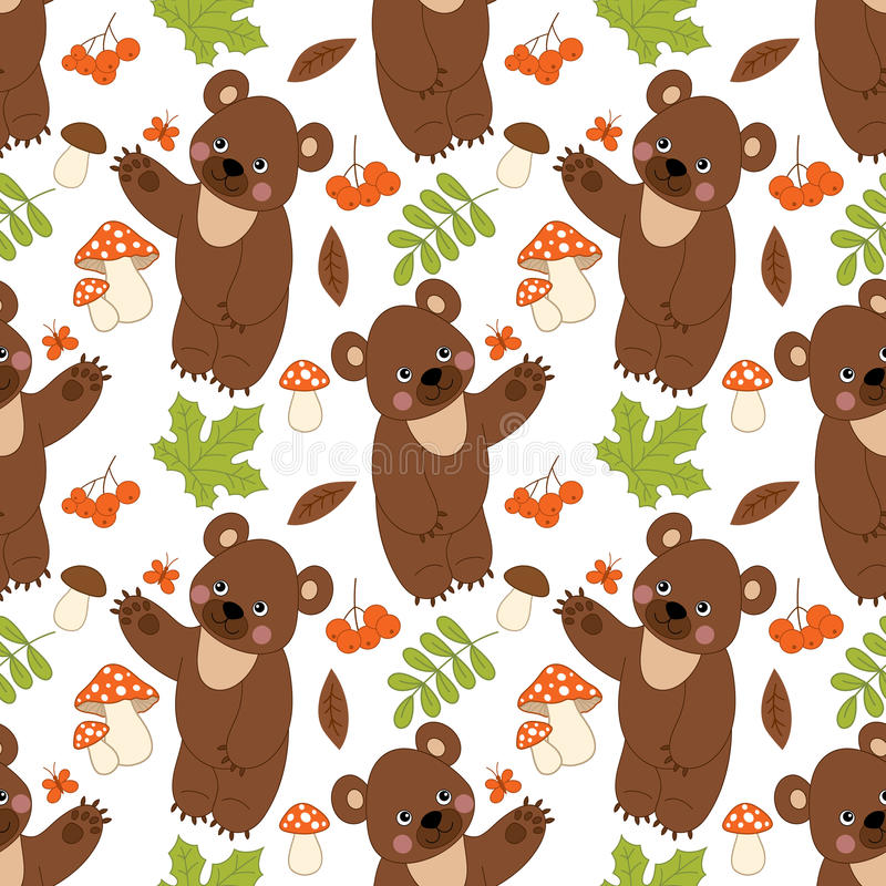 Modello senza cuciture di vettore con gli orsi, i funghi, le bacche e le foglie svegli Modello senza cuciture dell'orso della for royalty illustrazione gratis