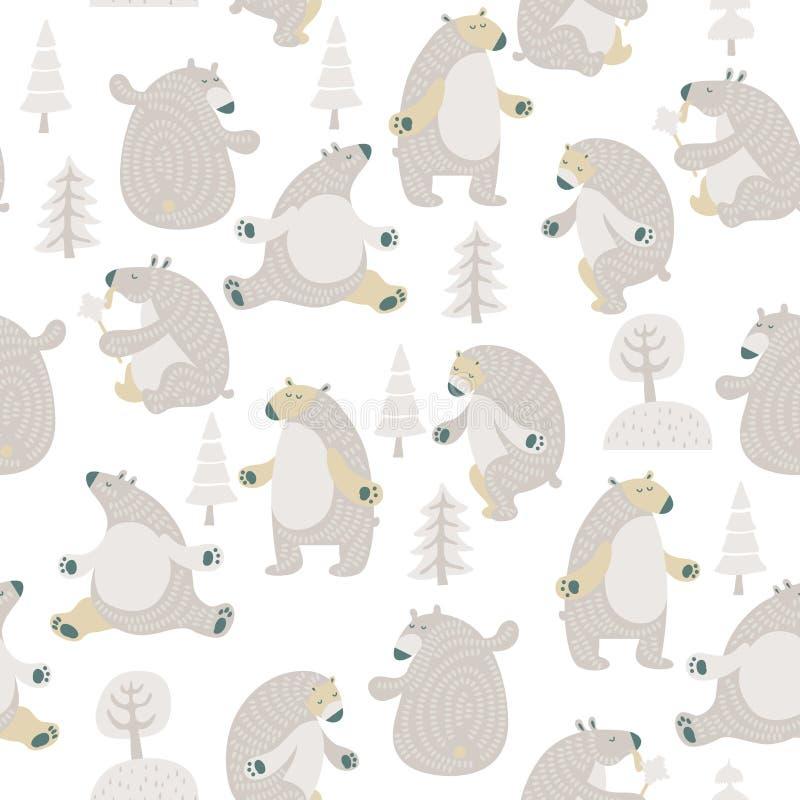 Modello senza cuciture di vettore con gli orsi svegli nello stile moderno minimalista scandinavo illustrazione di stock