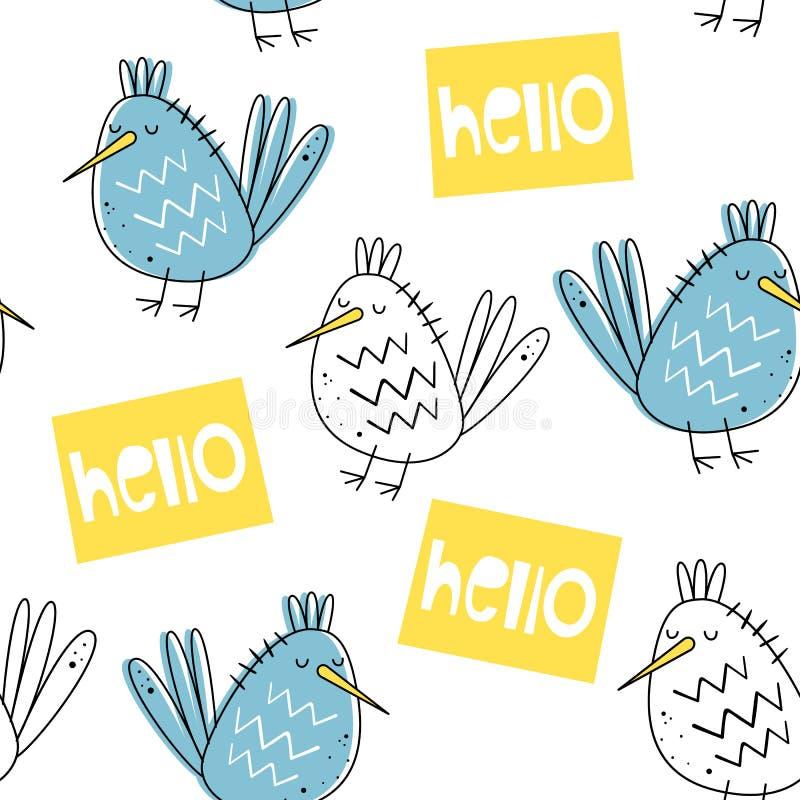 Modello senza cuciture di vettore con gli uccelli Stile scandinavo Printr sveglio del bambino royalty illustrazione gratis