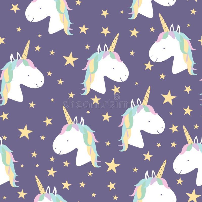 Modello senza cuciture di vettore con gli unicorni magici royalty illustrazione gratis
