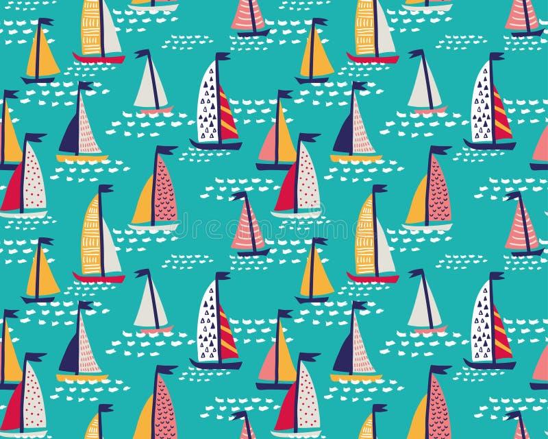 Modello senza cuciture di vettore con gli yacht disegnati a mano di navigazione illustrazione di stock