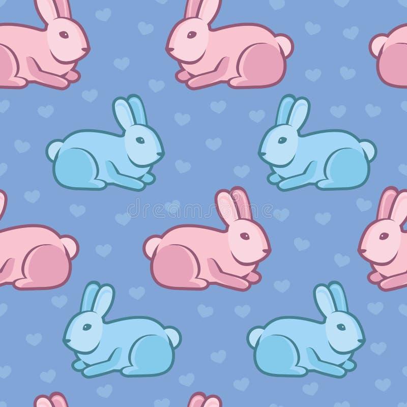 Modello senza cuciture di vettore con i conigli ed i cuori illustrazione di stock