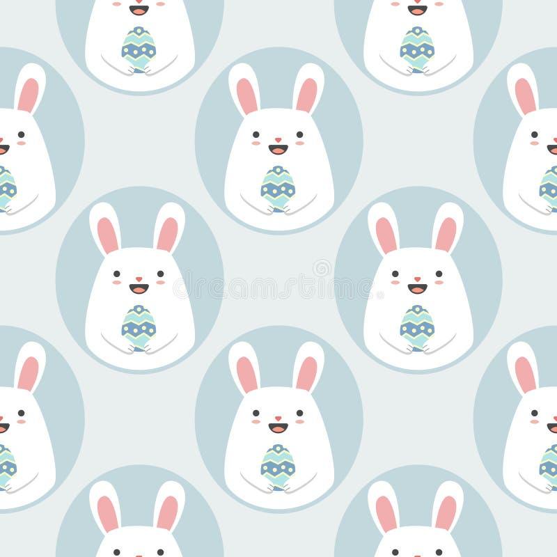 Modello senza cuciture di vettore con i conigli svegli del fumetto con le uova di Pasqua illustrazione vettoriale