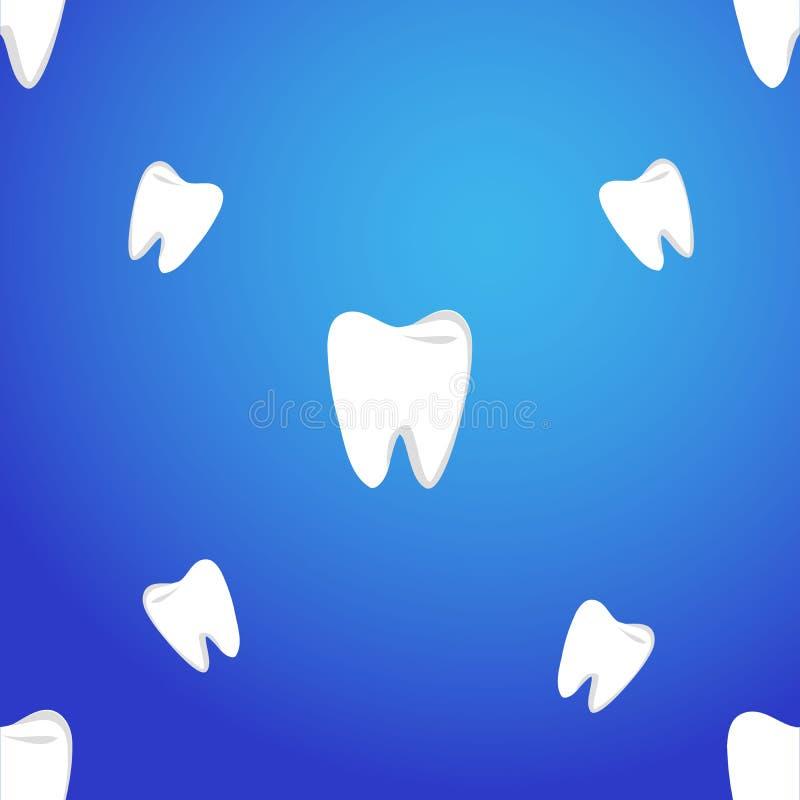Modello senza cuciture di vettore con i denti su un fondo blu Il modello dei denti illustrazione vettoriale