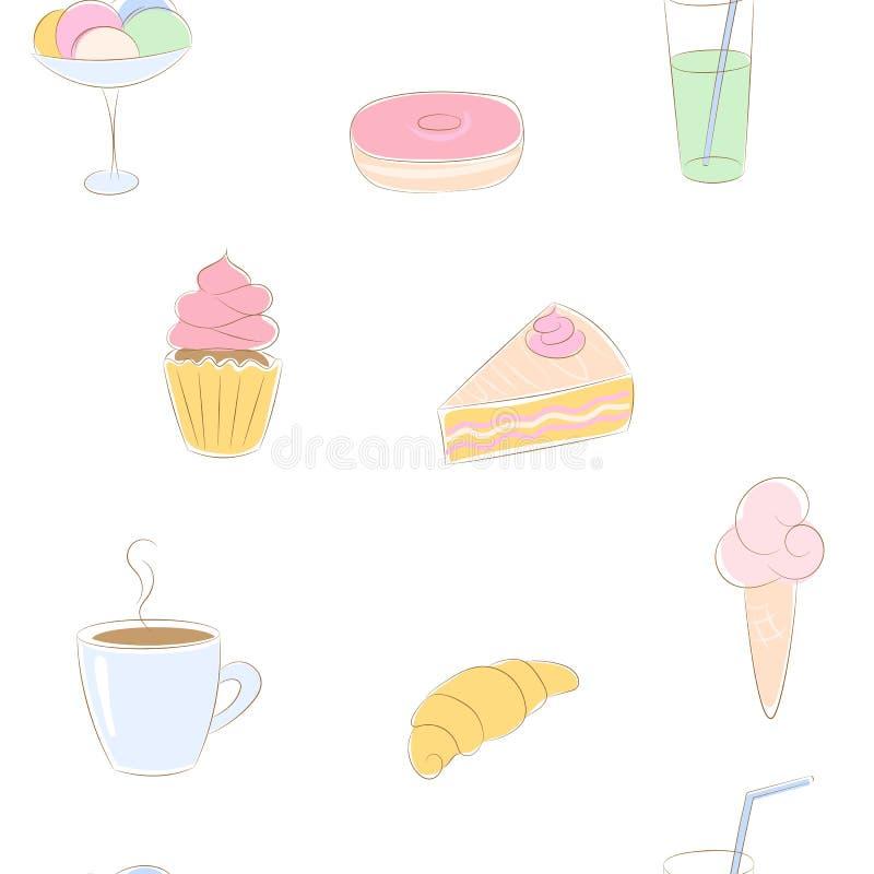 Modello senza cuciture di vettore con i dolci disegnati a mano di colore illustrazione vettoriale