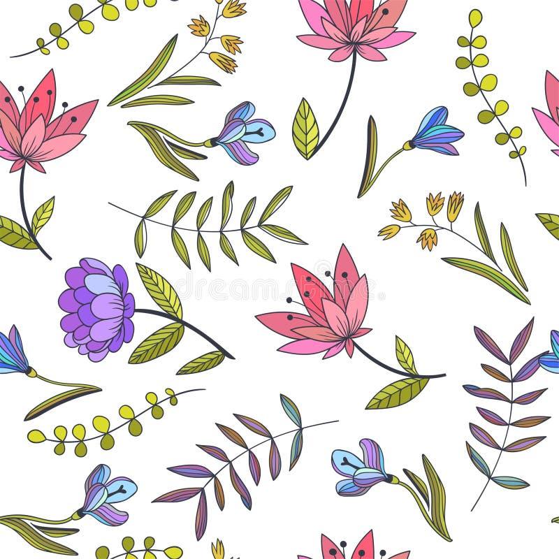 Modello senza cuciture di vettore con i fiori decorativi Bota disegnato a mano illustrazione vettoriale