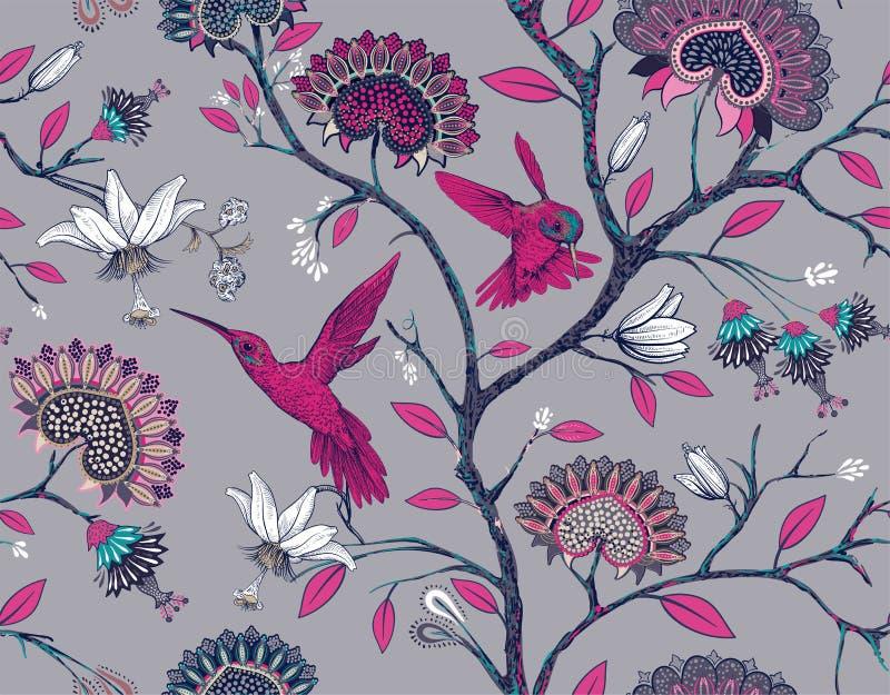 Modello senza cuciture di vettore con i fiori e gli uccelli stilizzati Giardino del fiore con i colibrì e le piante Luce floreale illustrazione vettoriale
