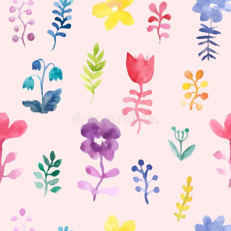 Modello senza cuciture di vettore con i fiori e le piante Su una decorazione floreale dell'acquerello rosa del fondo Priorit? bas illustrazione vettoriale