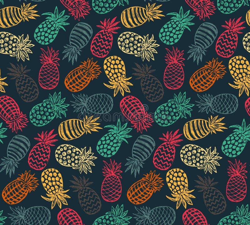Modello senza cuciture di vettore con i frutti decorati dell'ananas illustrazione vettoriale