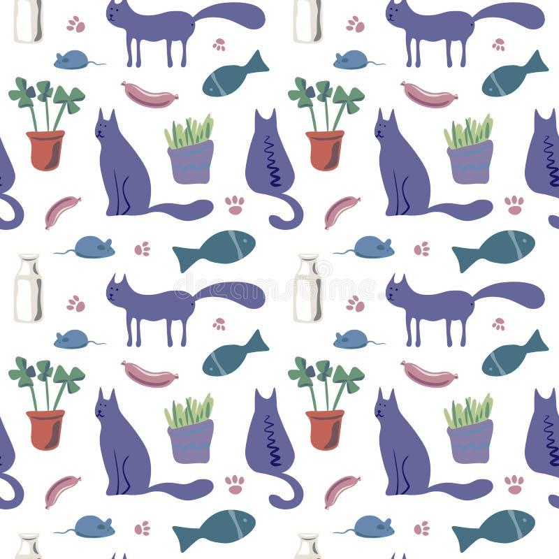 Modello senza cuciture di vettore con i gatti svegli nel colore morbido royalty illustrazione gratis