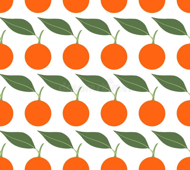 Modello senza cuciture di vettore con i mandarini su fondo bianco illustrazione vettoriale