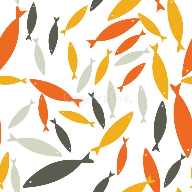 Modello senza cuciture di vettore con i pesci Fondo variopinto, struttura del mare della fauna selvatica royalty illustrazione gratis