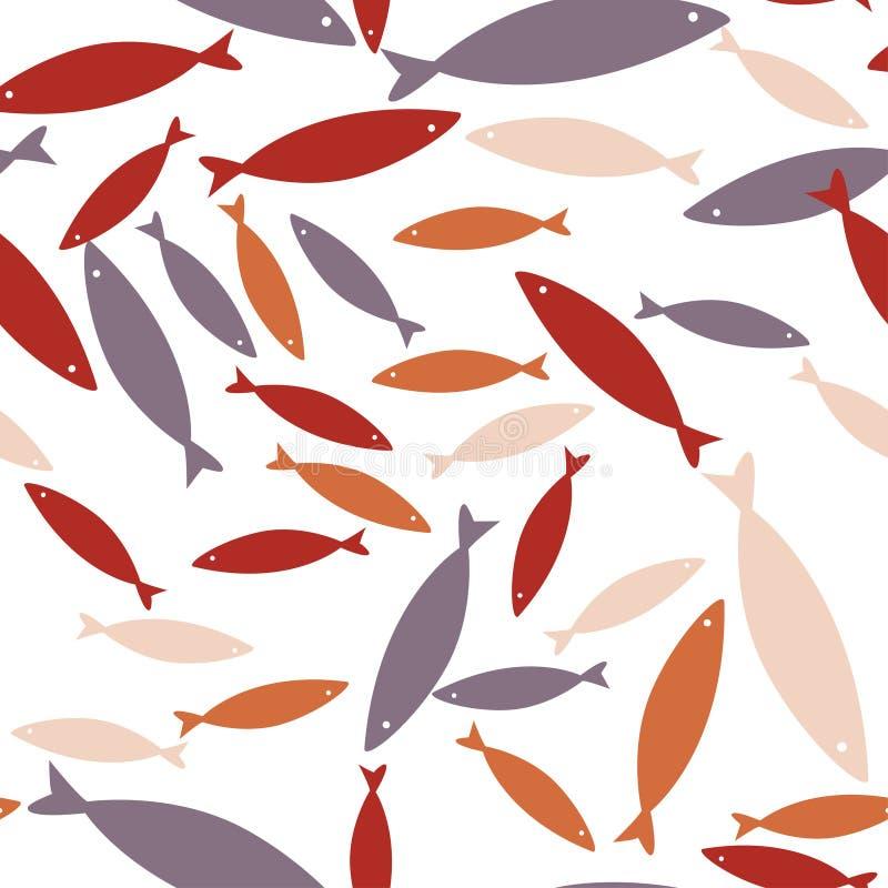 Modello senza cuciture di vettore con i pesci Fondo variopinto, struttura del mare della fauna selvatica illustrazione di stock