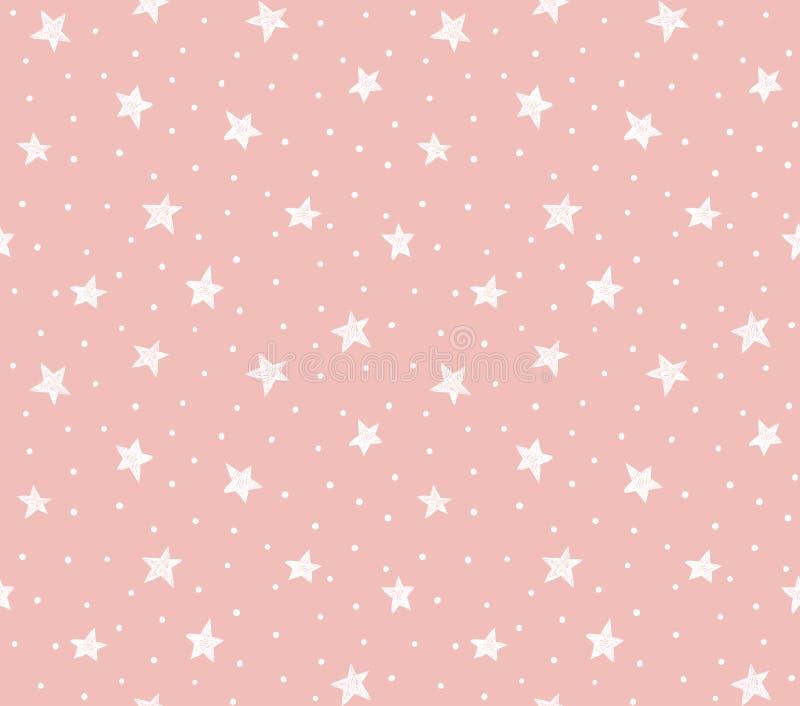 Modello senza cuciture di vettore con i punti e le stelle caotici sui precedenti rosa royalty illustrazione gratis