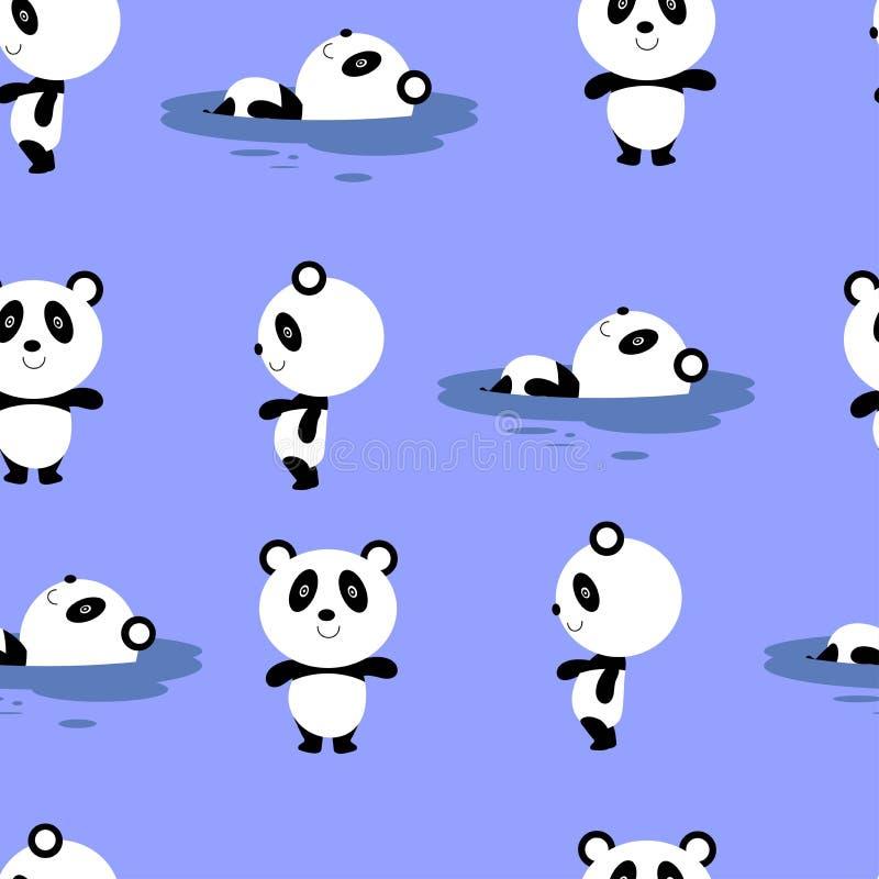 Modello senza cuciture di vettore con il panda sveglio e semplice del fumetto illustrazione di stock