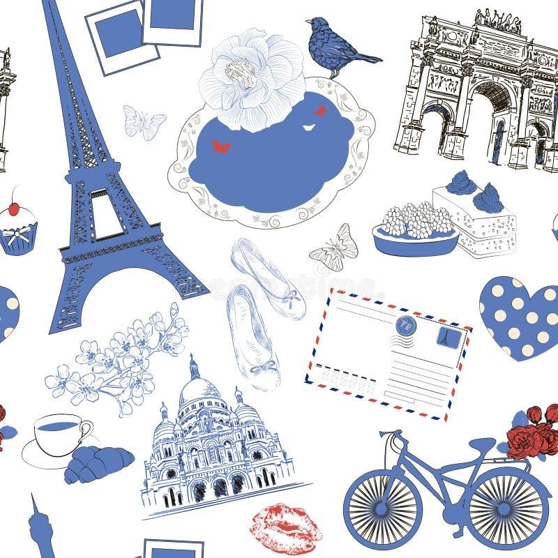 Modello senza cuciture di vettore con il simbolo di Parigi royalty illustrazione gratis