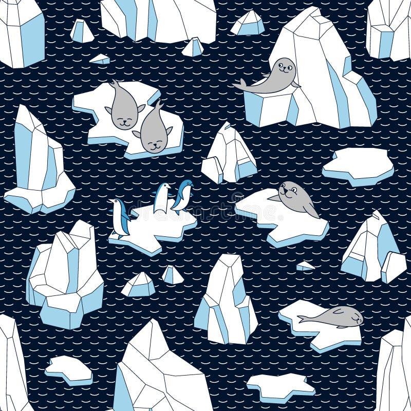 Modello senza cuciture di vettore con l'iceberg, le guarnizioni, i pinguini e le banchise royalty illustrazione gratis