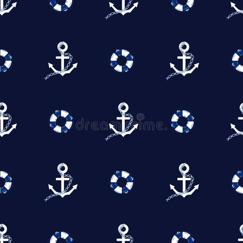 Modello senza cuciture di vettore con l'illustrazione del marinaio della decorazione di struttura del mare delle ancore royalty illustrazione gratis