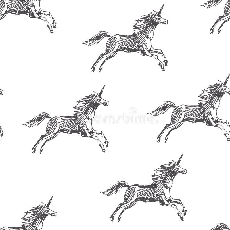 Modello senza cuciture di vettore con l'unicorno corrente Fantasia disegnata a mano royalty illustrazione gratis
