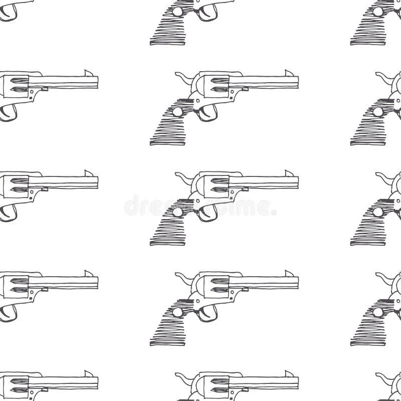 Modello senza cuciture di vettore con la pistola d'annata Spirito disegnato a mano di struttura royalty illustrazione gratis