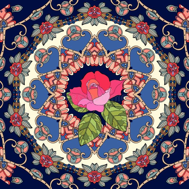 Modello senza cuciture di vettore con la rosa sveglia di rosa su fondo ornamentale illustrazione vettoriale