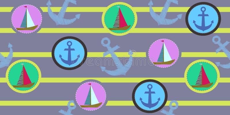 Modello senza cuciture di vettore con le ancore e le navi Grafici della maglietta per i bambini royalty illustrazione gratis