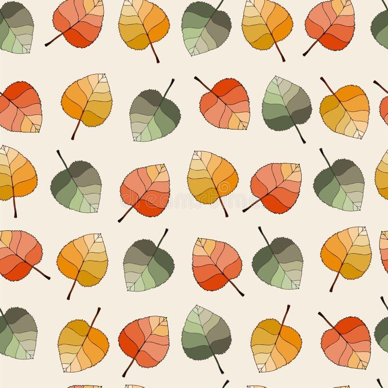 Modello senza cuciture di vettore con le foglie di autunno royalty illustrazione gratis