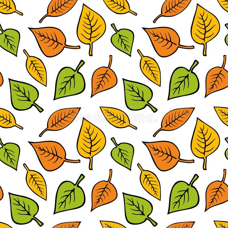 Modello senza cuciture di vettore con le foglie di autunno illustrazione di stock