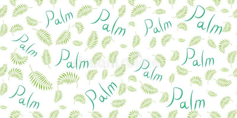 Modello senza cuciture di vettore con le foglie di palma illustrazione di stock