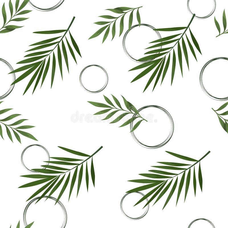 Modello senza cuciture di vettore con le foglie tropicali illustrazione vettoriale