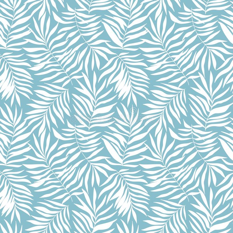 Modello senza cuciture di vettore con le foglie tropicali Bella stampa con le piante esotiche disegnate a mano Progettazione bota royalty illustrazione gratis