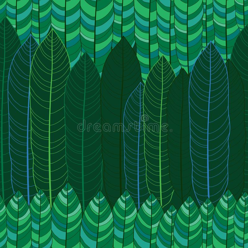 Modello senza cuciture di vettore con le foglie verdi tropicali del profilo sui precedenti scuri Modello floreale con fogliame tr illustrazione vettoriale
