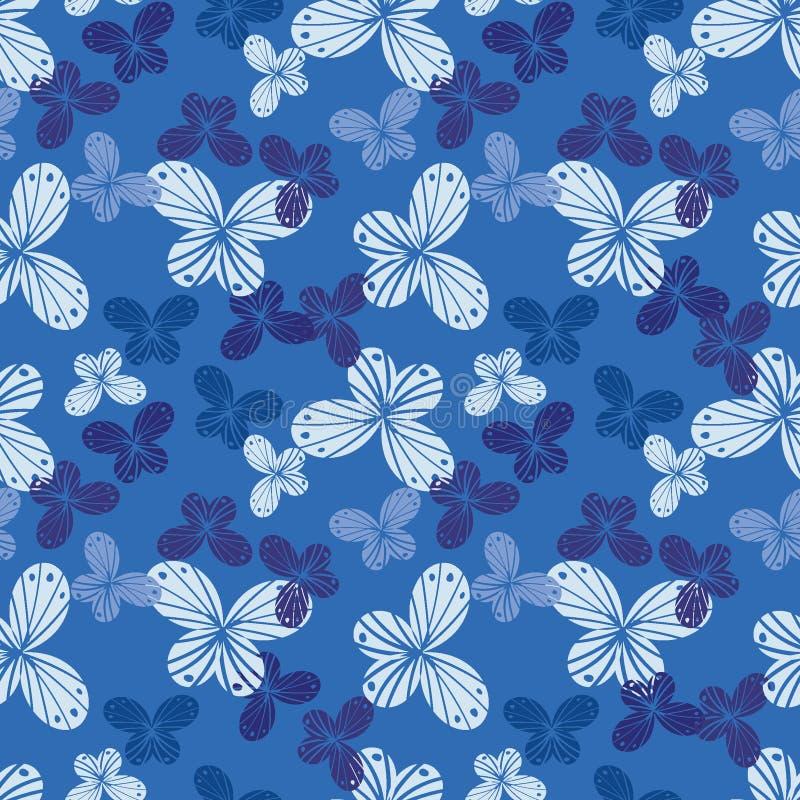Modello senza cuciture di vettore con le forme della farfalla in tonalità del blu royalty illustrazione gratis