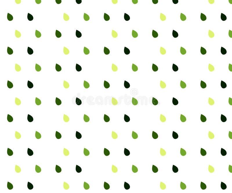 Modello senza cuciture di vettore con le gocce di pioggia Fondo dell'estratto della primavera in tonalit? di verde illustrazione vettoriale