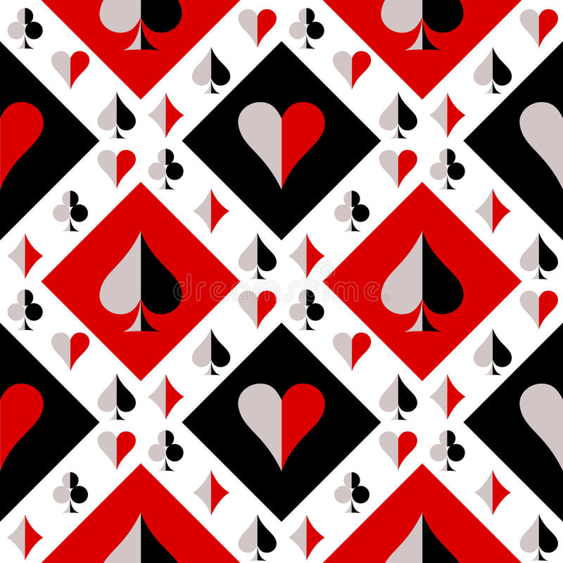 Modello senza cuciture di vettore con le icone delle carte da gioco Fondo di ripetizione rosso e bianco del nero, illustrazione di stock