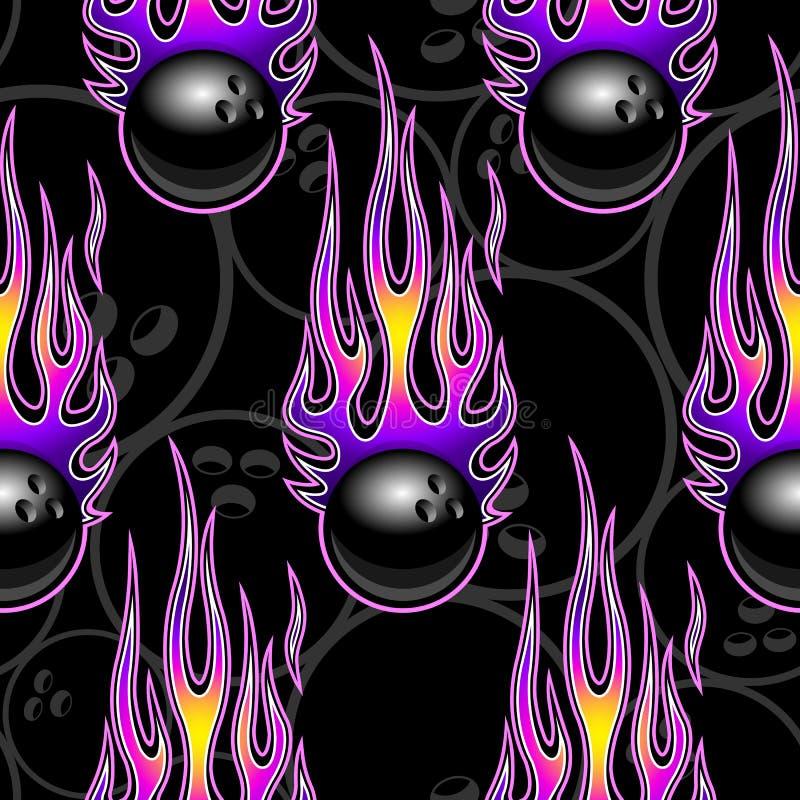 Modello senza cuciture di vettore con le icone e le fiamme della palla da bowling illustrazione di stock
