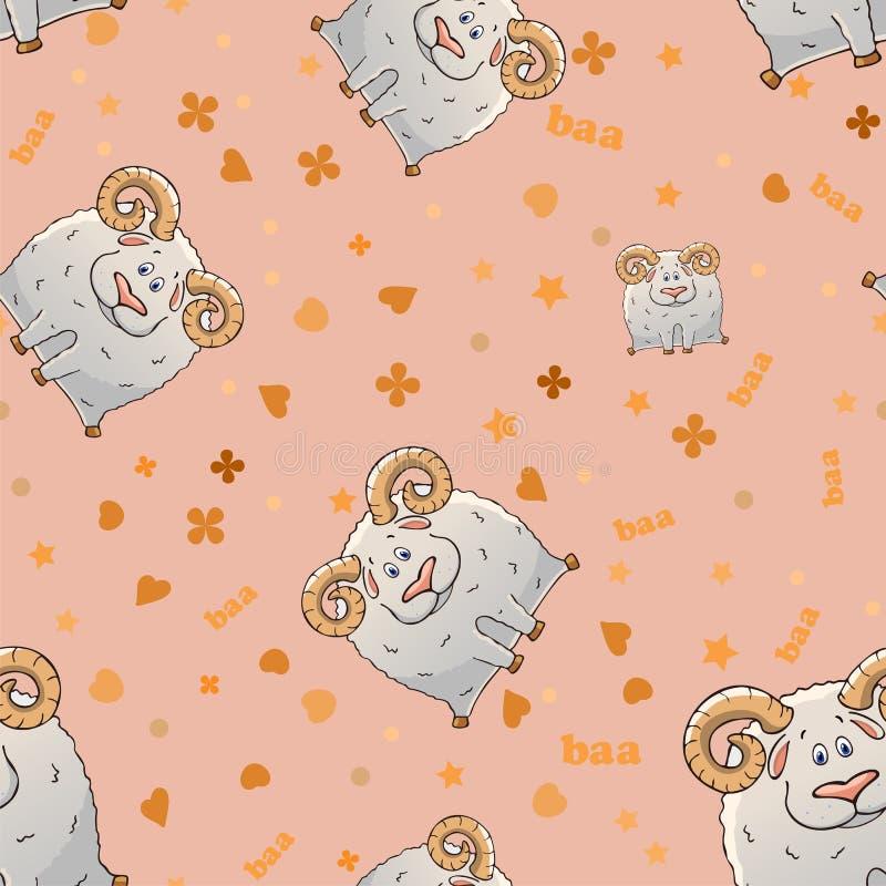 Modello senza cuciture di vettore con le pecore cornute del fumetto sveglio Animali divertenti Struttura su un fondo rosa Modello illustrazione di stock