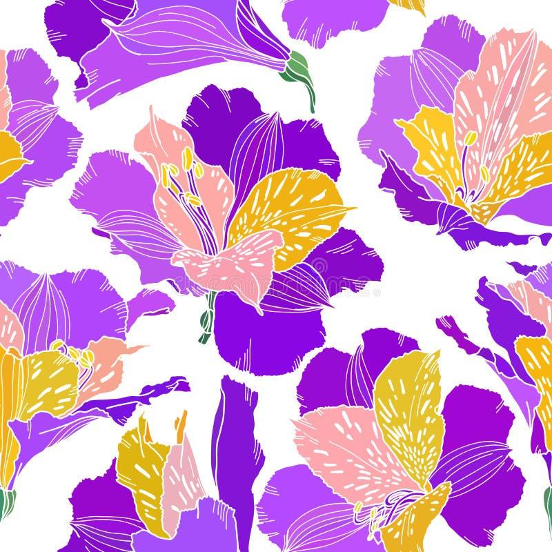 Modello senza cuciture di vettore con le piante disegnate a mano Fondo botanico con i fiori, le foglie ed i rami Alstroemeria royalty illustrazione gratis
