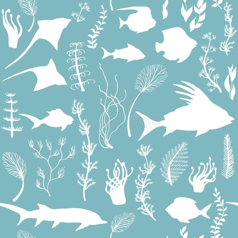 Modello senza cuciture di vettore con le siluette dell'alga e del pesce illustrazione vettoriale