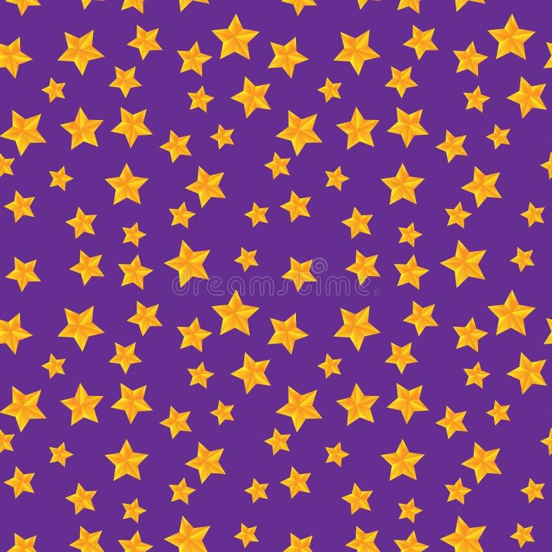Modello senza cuciture di vettore con le stelle dorate immagini stock libere da diritti