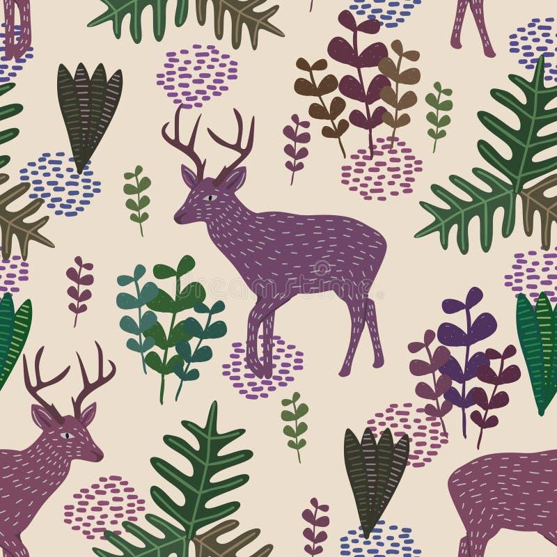 Modello senza cuciture di vettore d'avanguardia della fauna selvatica con stile puerile disegnato a mano dei cervi e delle piante royalty illustrazione gratis