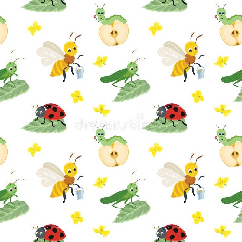 Modello senza cuciture di vettore degli insetti del fumetto su fondo bianco illustrazione vettoriale