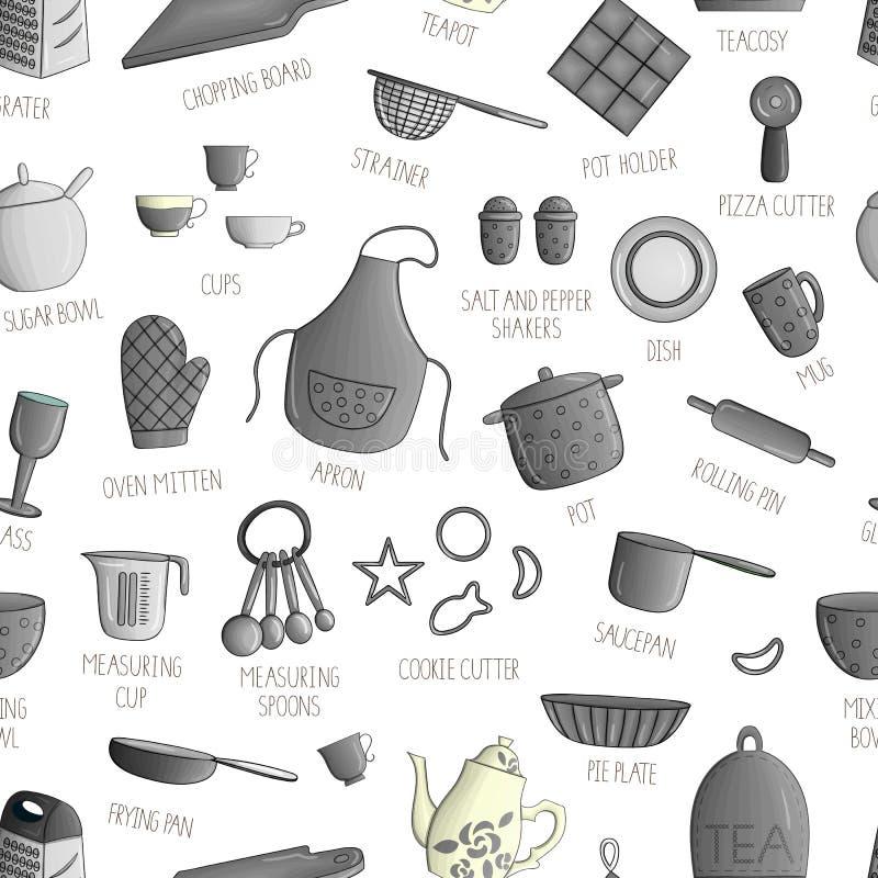 Modello senza cuciture di vettore degli strumenti in bianco e nero della cucina royalty illustrazione gratis