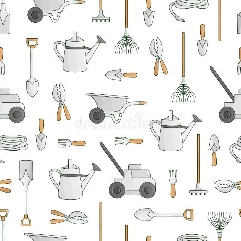 Modello senza cuciture di vettore degli strumenti di giardino colorati illustrazione di stock