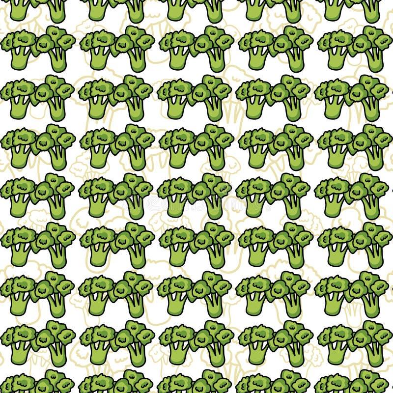 Modello senza cuciture di vettore dei broccoli di schizzo illustrazione vettoriale