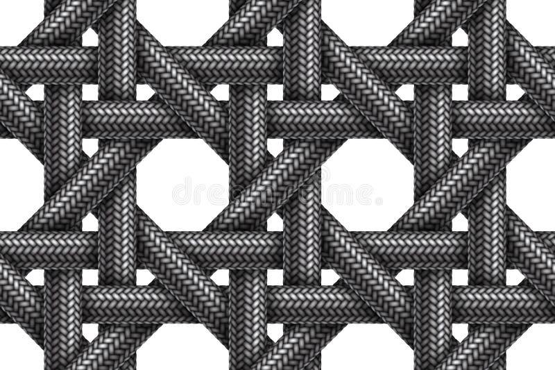 Modello senza cuciture di vettore dei cavi intrecciati tessuto illustrazione vettoriale